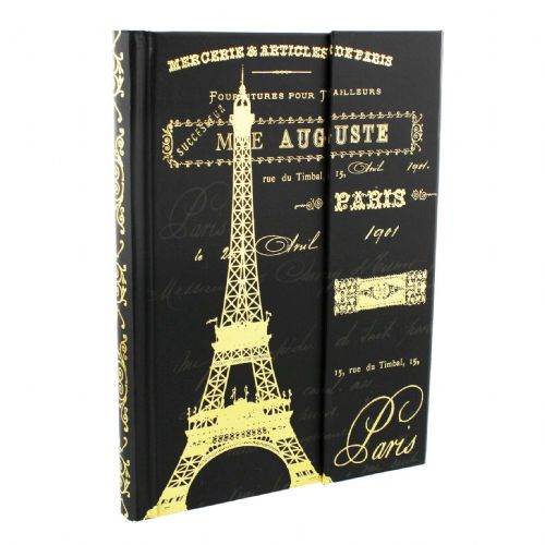Black and Gold Paris Hardback A5 Notebook - Special Teacher Gift - Pretty Decorative Notebook
